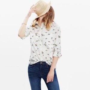 NWT Madewell white trapeze button down shirt